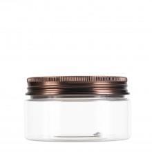 #67 100 ml / 3.4 oz Clear PET Jar  w/ Bronze Aluminum Cap