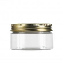 #67 100 ml / 3.4 oz Clear PET Jar  w/ Gold Aluminum Cap