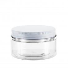 #67 100 ml / 3.4 oz Clear PET Jar  w/ White Aluminum Cap