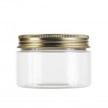 #67 120 ml / 4 oz Clear PET Jar  w/ Gold Aluminum Cap
