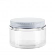 #67 120 ml / 4 oz Clear PET Jar  w/ White Aluminum Cap