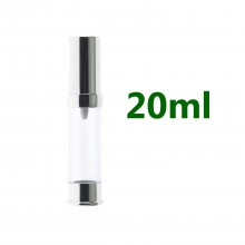 Airless Pump bottles - Shiney Silver + Clear 20ml
