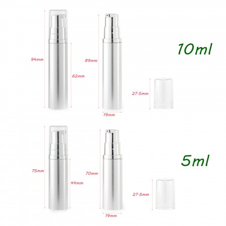 Airless Pump bottles Silver + Clear Cap 5ml