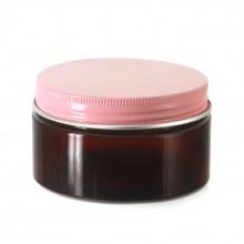 #67 PET Jar Amber 100ml / 3.4oz w/ Pink Aluminum Cap