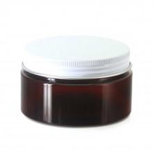 #67 PET Jar Amber 100ml / 3.4oz w/ White Aluminum Cap