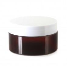 #67 PET Jar Amber 100ml / 3.4oz w/ White Plastic Cap
