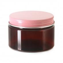 #67 PET Jar Amber 120ml / 4oz w/ Pink Aluminum Cap